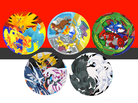 Legendary Pokemon buttons by zynwolf