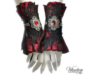 Red Victorian cuffs by vilindery
