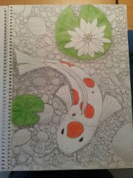 Art Class Assignment: Koi In Pond by Erick-the-Druid