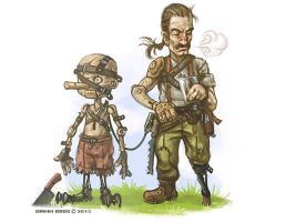 Geppetto and his wooden golem Pinocchio by randis