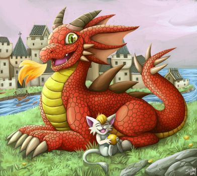 dragon and catfriend by sushy00