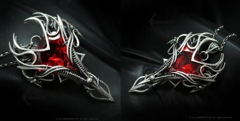 RAHMADARTH Silver and Red Zirconia by LUNARIEEN