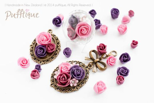 Clay Rose Pendents and Ring