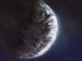 Close-up of the Moon by SteveDeLaMare