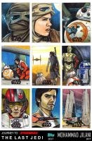 Journey to the last Jedi sketch official cards by Art-by-Jilani