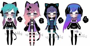 goth kemonomimi adoptables closed by AS-Adoptables