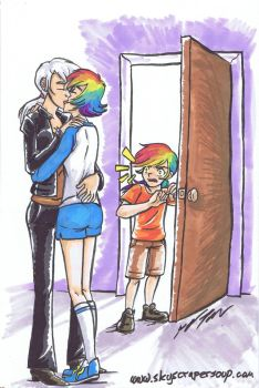 Rainbow Feather Parents Kissing by Kytri by Q99