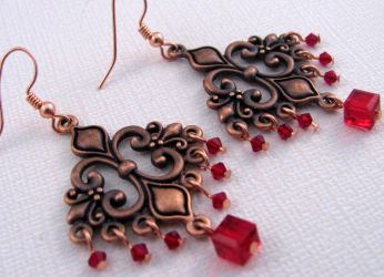 Copper and Red Chandeliers by lauriescustomcreate