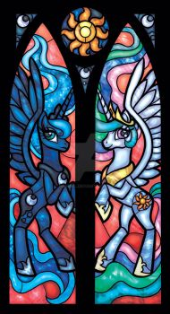 Stained Glass Princess Luna and Princess Celestia by nenuiel