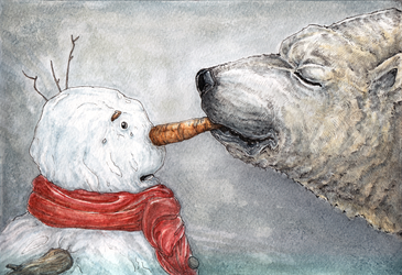Snowman And Bear Happy New Nose by AlexanderCrW