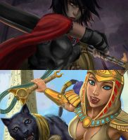 Bellona and Bastet (WIP) - Smite by Sciamano240