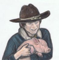 Carl Grimes holding a pig by gagambo