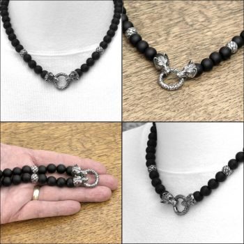 Multipurpose Luxury Wolf Head Black Onyx Necklace by GoodSpiritWolf