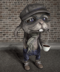 Hipster Bunny by suetabulous