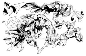 Glyph and the Marvel Knights by BDStevens