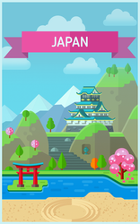 Flat style Japan background by Vadich