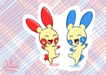 Plusle and Minun by Augustusalex