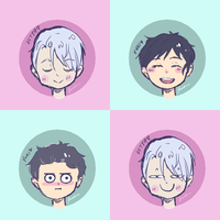 Four faces of Victuuri by Peach-8D