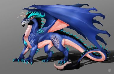 Feral Ice dragon James(Wings) by DoomGuy26