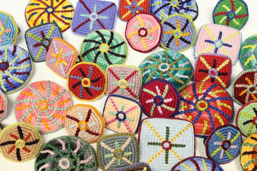 Crocheted Cotton Brooches and Rings by KatieSchutte