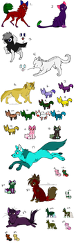 Unsold adopts by WolveFalcoAdoptables