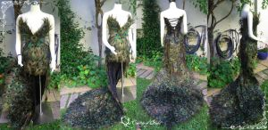 Peacock Feather Gown by vani