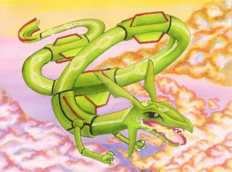 Rayquaza (Pokemon Card/ Art trade) by OldSophie