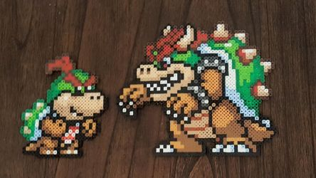 Bowser and Bowser Jr Mario Maker sprites by Pika-Robo