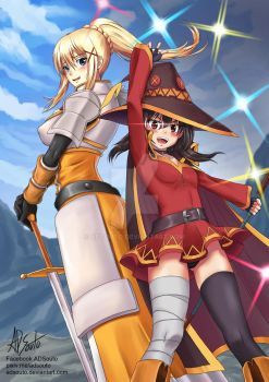 KonoSuba: Darkness and Megumin by ADSouto