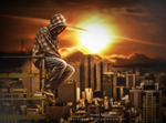 the sunset of the city .. by Ahmed-Rashad-Art