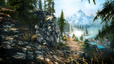 A Cliff Under a Tree - Skyrim by WatchTheSkies45