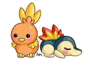 Torchic and cyndaquil by Amphany