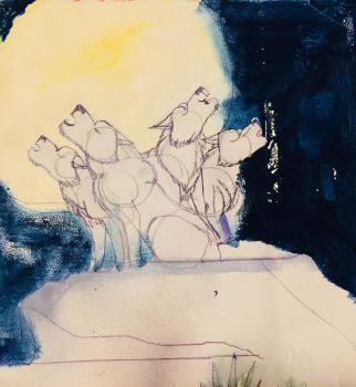 Wolf pack howling by masonthetrex