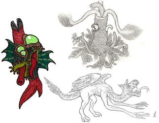Lovecraftian Beasts and a Dragon by Tektalox