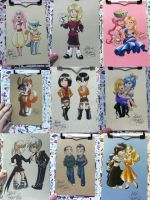 Sketch Card Commissions from Anime Boston 2014 by alex-heberling