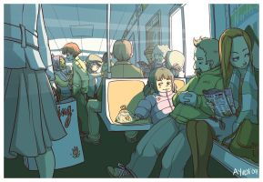 Train Ride With Friends by weem