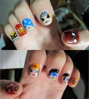 Super hero nails by tharesek