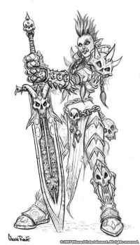 Female Troll Death Knight by GlennRaneArt