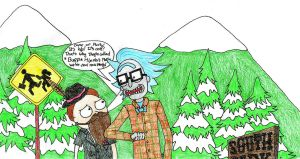 Rick and Morty in South Park being hipsters by Fishyribbit