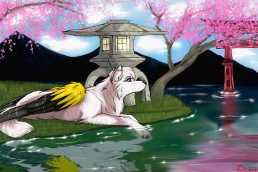 under the usual sakura tree by Alueus