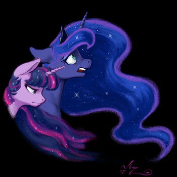 The Moon And Her Stars by Amarynceus
