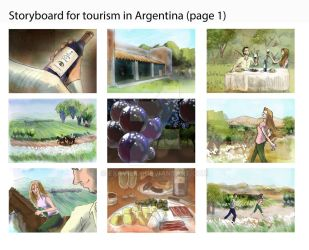 Storyboard for tourism in Argentina (page 1) by Exavierx