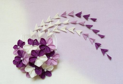 Charming Violet and White Blossom Kanzashi 151 by japanesesilkflowers