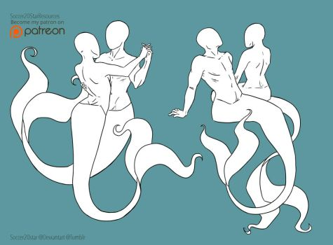 F2U - Mermaid Pose Couple Set by CourtneysConcepts