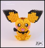 Pichu + Diagram  -3D Origami- by Delinlea