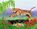 Leaping Tiger with Reflecting Pool by Dr-Destruction