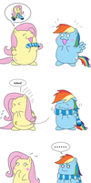 Fluttershy's present for Rainbow Dash by Iroenp
