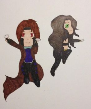 Gambit and X-23 by unknownxmurexa