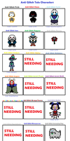 Anti Glitch Tale Character Chart (So Far) by cjc728