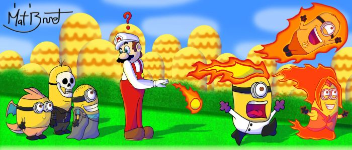 Mario Setting Minions on Fire by AniMat505
